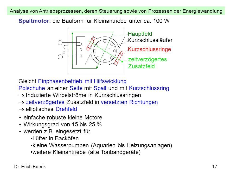 Analyse von Antriebsprozessen, deren Steuerung sowie von Prozessen der Energiewandlung Dr. Erich Boeck17 Spaltmotor: die Bauform für Kleinantriebe unt