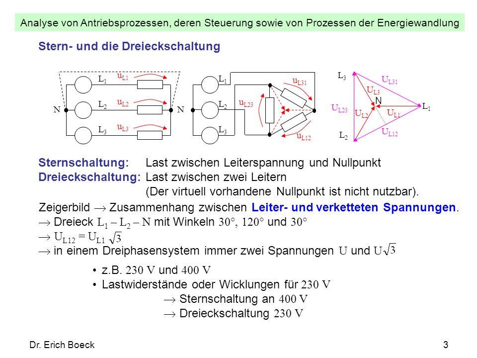 Analyse von Antriebsprozessen, deren Steuerung sowie von Prozessen der Energiewandlung Dr. Erich Boeck3 Stern- und die Dreieckschaltung N u L1 u L2 u
