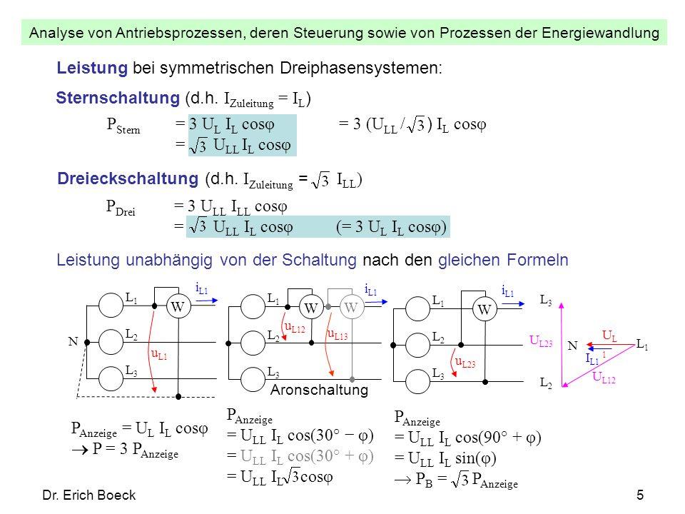 Analyse von Antriebsprozessen, deren Steuerung sowie von Prozessen der Energiewandlung Dr. Erich Boeck5 Leistung unabhängig von der Schaltung nach den