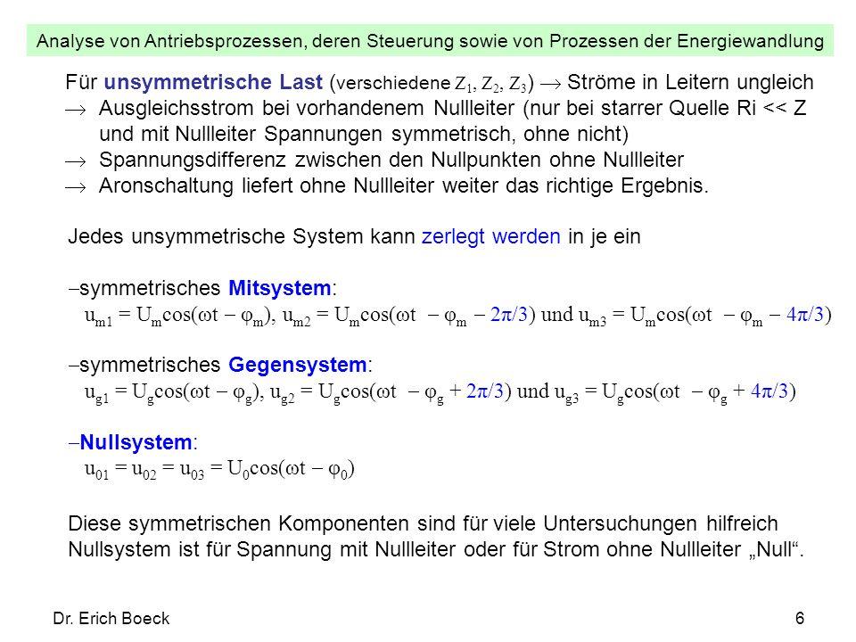 Analyse von Antriebsprozessen, deren Steuerung sowie von Prozessen der Energiewandlung Dr. Erich Boeck6 Für unsymmetrische Last ( verschiedene Z 1, Z