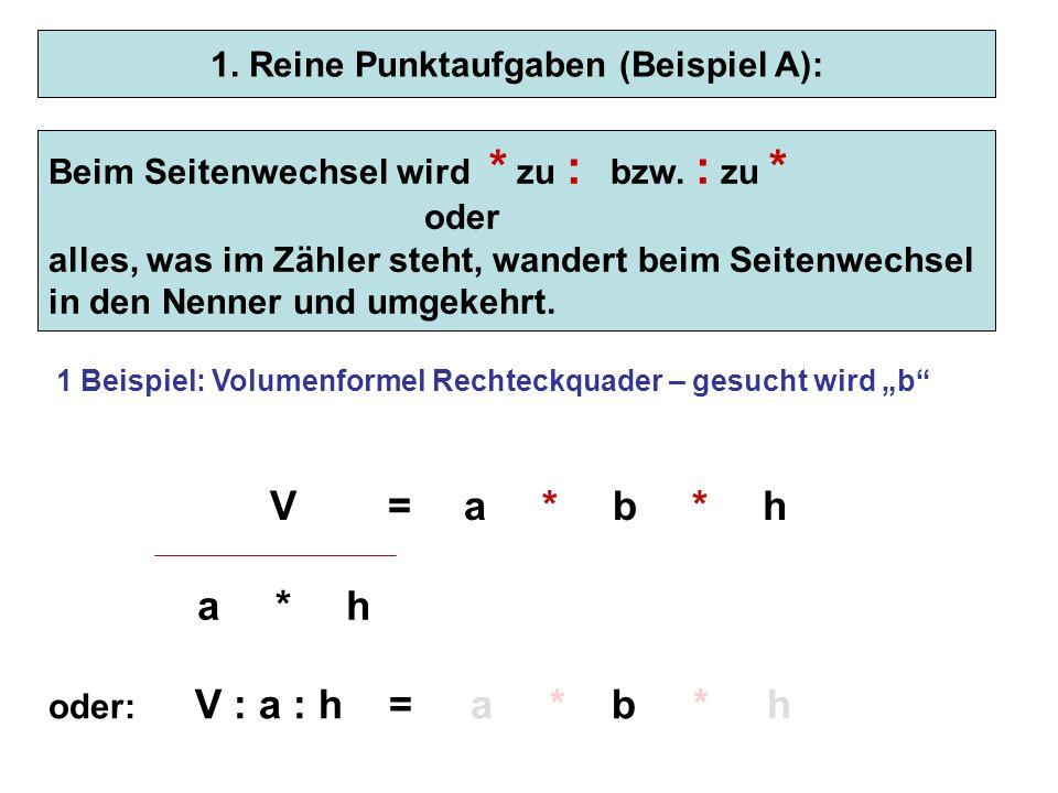 1. Reine Punktaufgaben (Beispiel A): Hinweis: Der Bruchstrich entspricht einem : - Zeichen Bsp.: 2ist das Gleiche wie 2 : 8 8 Beim Seitenwechsel wird