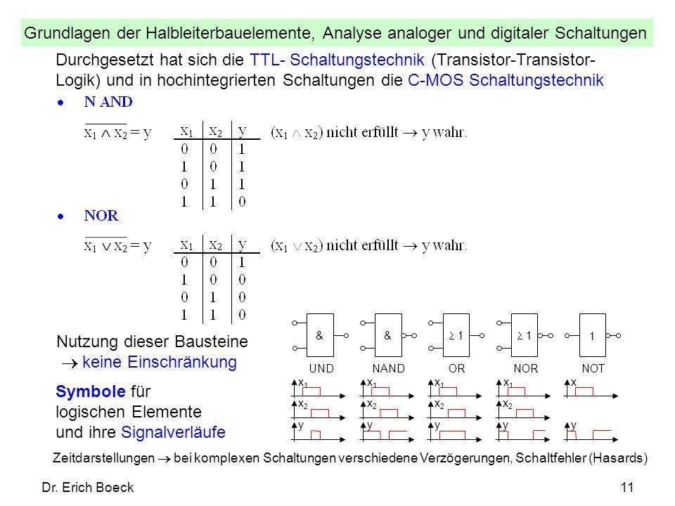Grundlagen der Halbleiterbauelemente, Analyse analoger und digitaler Schaltungen Dr. Erich Boeck11 Durchgesetzt hat sich die TTL- Schaltungstechnik (T