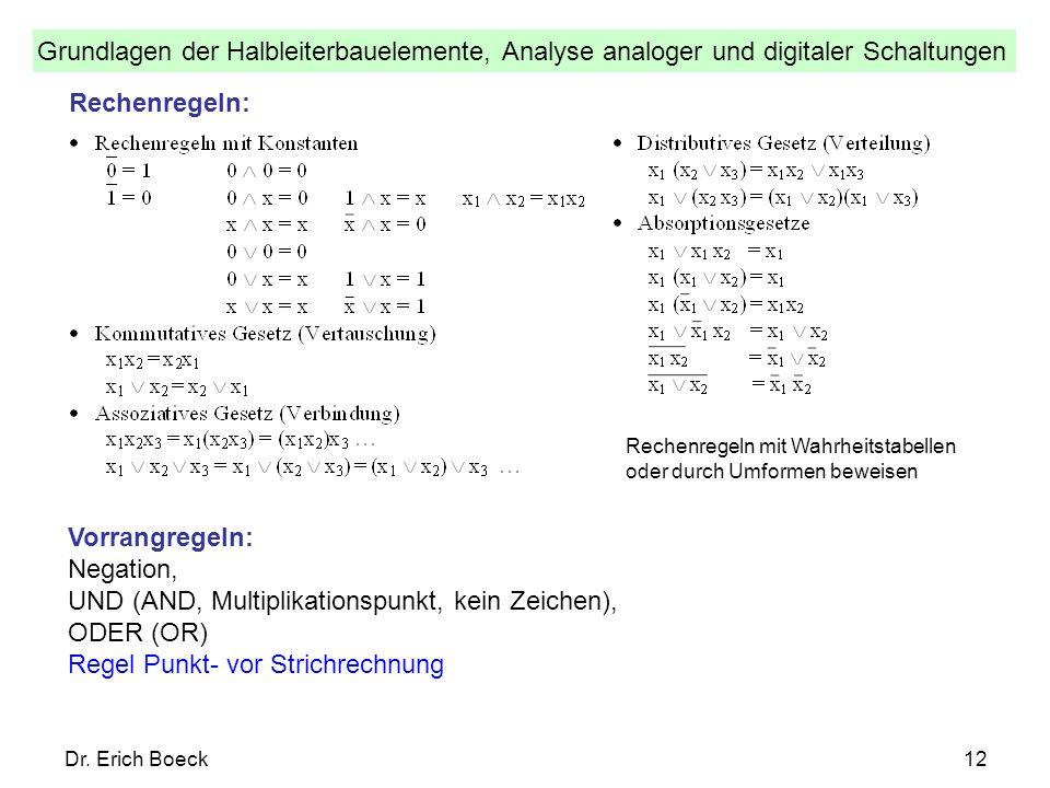 Grundlagen der Halbleiterbauelemente, Analyse analoger und digitaler Schaltungen Dr. Erich Boeck12 Rechenregeln: Vorrangregeln: Negation, UND (AND, Mu