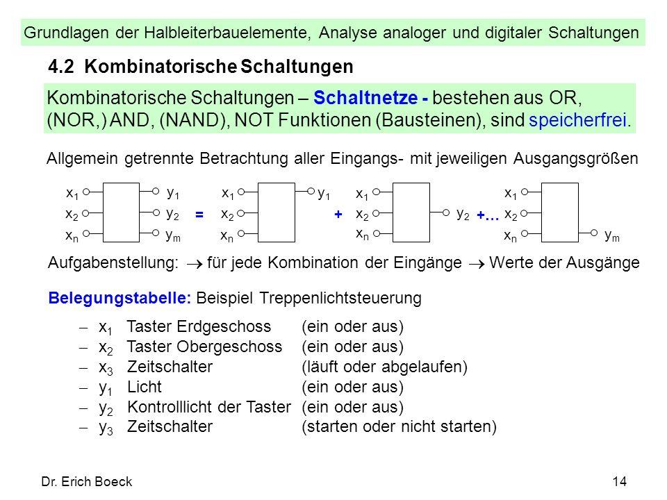 Grundlagen der Halbleiterbauelemente, Analyse analoger und digitaler Schaltungen Dr. Erich Boeck14 4.2 Kombinatorische Schaltungen Kombinatorische Sch