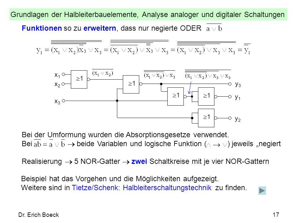 Grundlagen der Halbleiterbauelemente, Analyse analoger und digitaler Schaltungen Dr. Erich Boeck17 Funktionen so zu erweitern, dass nur negierte ODER