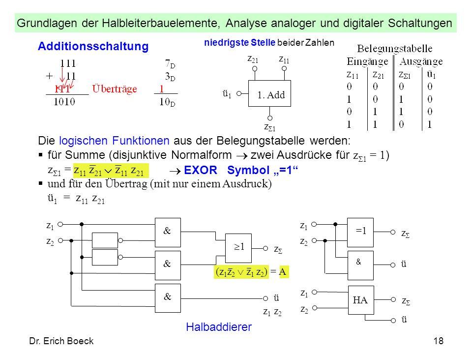 Grundlagen der Halbleiterbauelemente, Analyse analoger und digitaler Schaltungen Dr. Erich Boeck18 Additionsschaltung ü1ü1 z Σ1 1. Add z 21 z 11 niedr