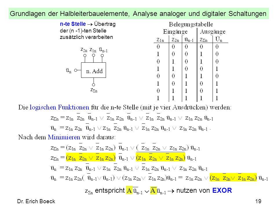 Grundlagen der Halbleiterbauelemente, Analyse analoger und digitaler Schaltungen Dr. Erich Boeck19 n-te Stelle Übertrag der (n -1)-ten Stelle zusätzli