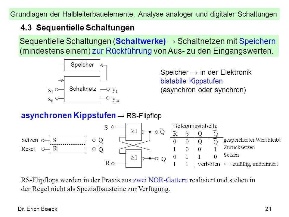 Grundlagen der Halbleiterbauelemente, Analyse analoger und digitaler Schaltungen Dr. Erich Boeck21 4.3 Sequentielle Schaltungen Sequentielle Schaltung