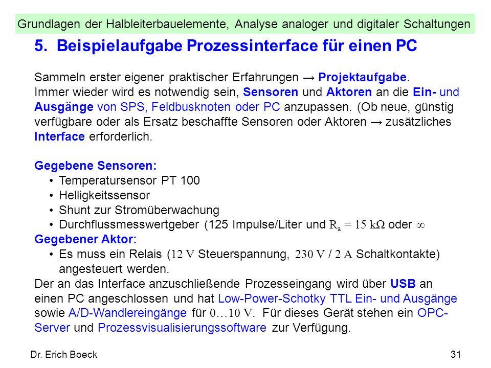 Grundlagen der Halbleiterbauelemente, Analyse analoger und digitaler Schaltungen Dr. Erich Boeck31 5. Beispielaufgabe Prozessinterface für einen PC Sa