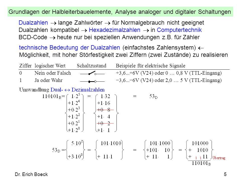 Grundlagen der Halbleiterbauelemente, Analyse analoger und digitaler Schaltungen Dr. Erich Boeck5 Dualzahlen lange Zahlwörter für Normalgebrauch nicht