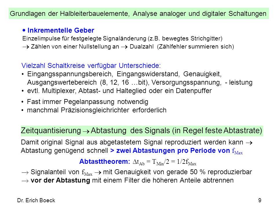 Grundlagen der Halbleiterbauelemente, Analyse analoger und digitaler Schaltungen Dr. Erich Boeck9 Vielzahl Schaltkreise verfügbar Unterschiede: Eingan