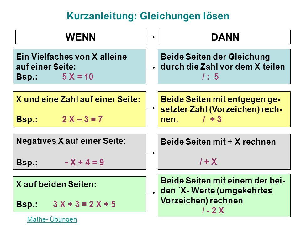 Ein Vielfaches von X alleine auf einer Seite: Bsp.: 5 X = 10 Beide Seiten der Gleichung durch die Zahl vor dem X teilen / : 5 Beide Seiten mit entgege