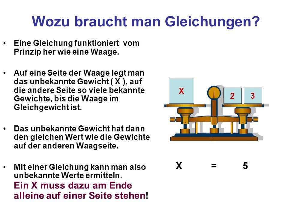 Wozu braucht man Gleichungen? Eine Gleichung funktioniert vom Prinzip her wie eine Waage. Auf eine Seite der Waage legt man das unbekannte Gewicht ( X