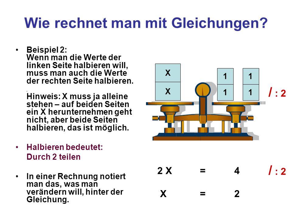 Wie rechnet man mit Gleichungen? Beispiel 2: Wenn man die Werte der linken Seite halbieren will, muss man auch die Werte der rechten Seite halbieren..