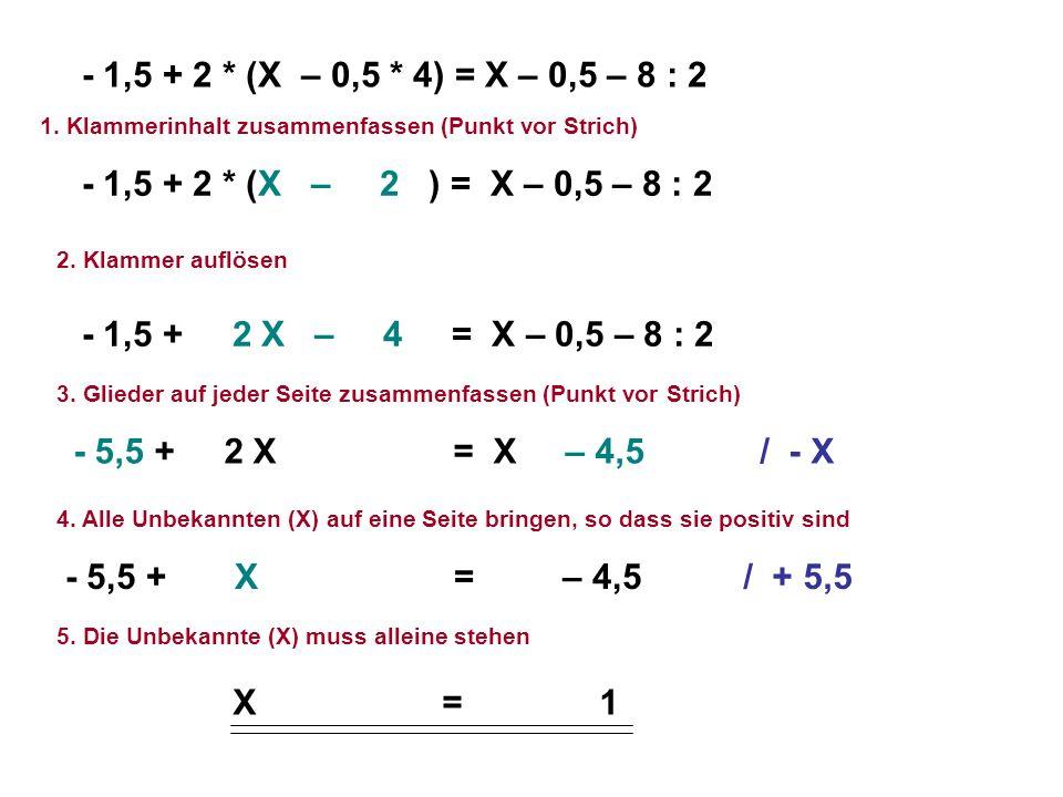 1. Klammerinhalt zusammenfassen (Punkt vor Strich) 2. Klammer auflösen 3. Glieder auf jeder Seite zusammenfassen (Punkt vor Strich) 4. Alle Unbekannte