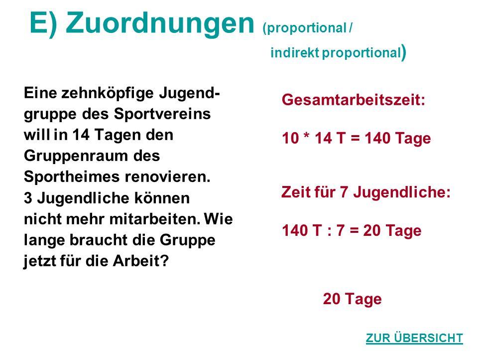 E) Zuordnungen (proportional / indirekt proportional ) Eine zehnköpfige Jugend- gruppe des Sportvereins will in 14 Tagen den Gruppenraum des Sportheim