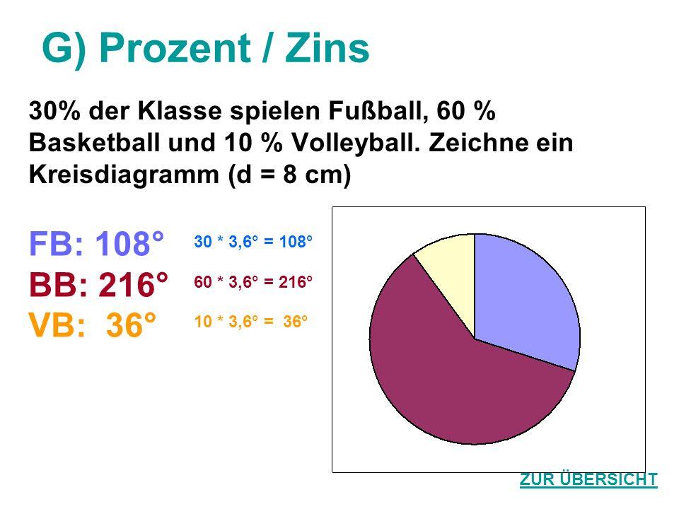 G) Prozent / Zins 30% der Klasse spielen Fußball, 60 % Basketball und 10 % Volleyball. Zeichne ein Kreisdiagramm (d = 8 cm) FB: 108° BB: 216° VB: 36°