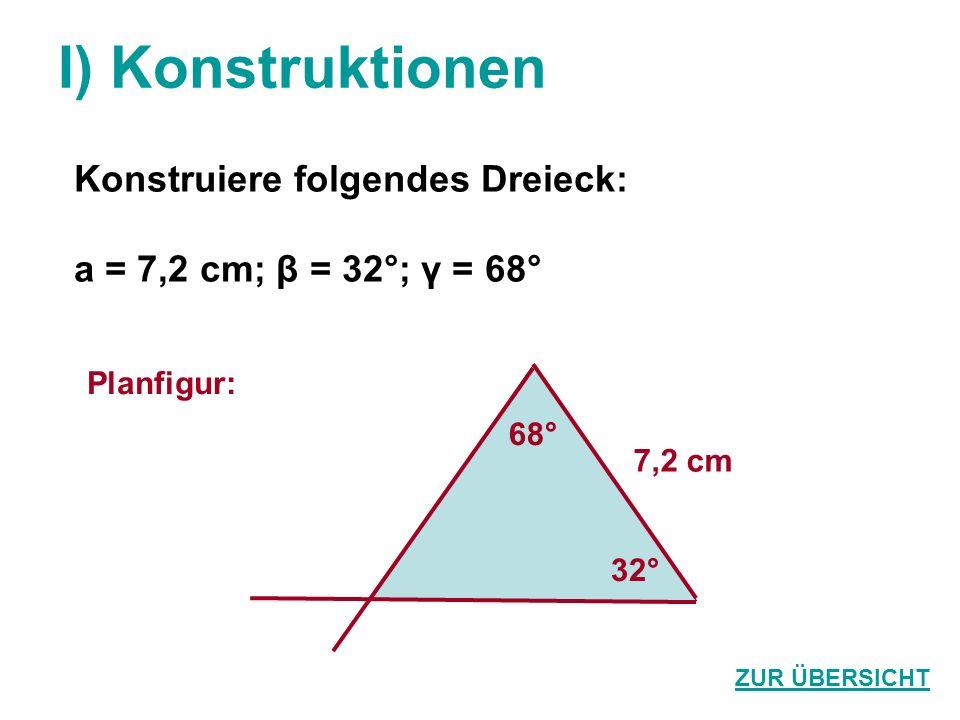 I) Konstruktionen Konstruiere folgendes Dreieck: a = 7,2 cm; β = 32°; γ = 68° ZUR ÜBERSICHT Planfigur: 68° 7,2 cm 32°