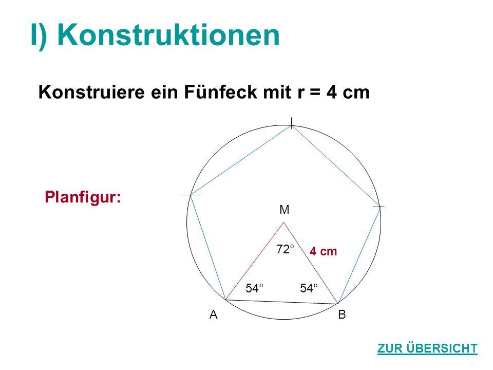 I) Konstruktionen Konstruiere ein Fünfeck mit r = 4 cm ZUR ÜBERSICHT Planfigur: 72° 54° M BA 4 cm