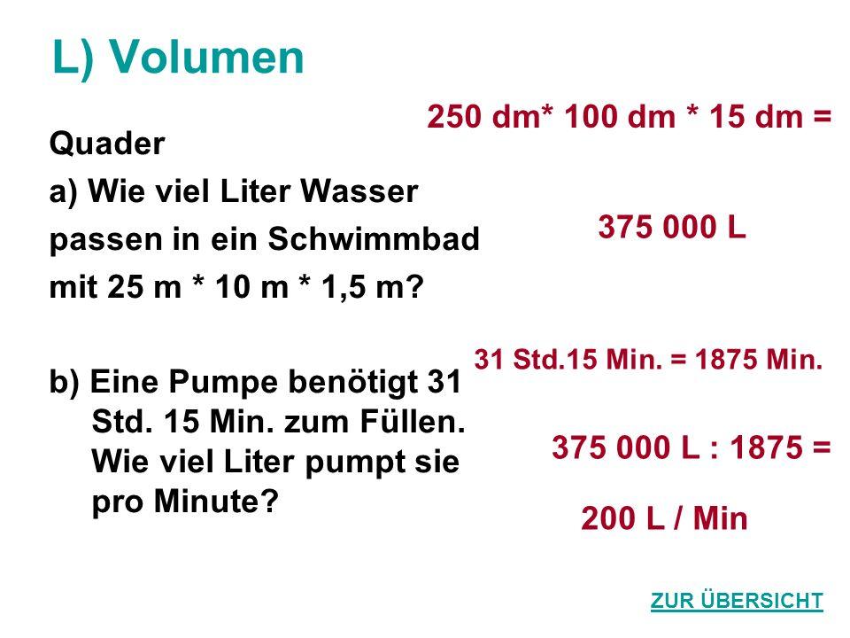 L) Volumen Quader a) Wie viel Liter Wasser passen in ein Schwimmbad mit 25 m * 10 m * 1,5 m? b) Eine Pumpe benötigt 31 Std. 15 Min. zum Füllen. Wie vi