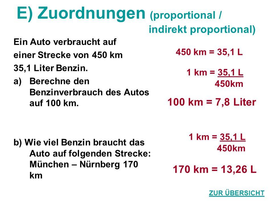 E) Zuordnungen (proportional / indirekt proportional) Ein Auto verbraucht auf einer Strecke von 450 km 35,1 Liter Benzin. a)Berechne den Benzinverbrau
