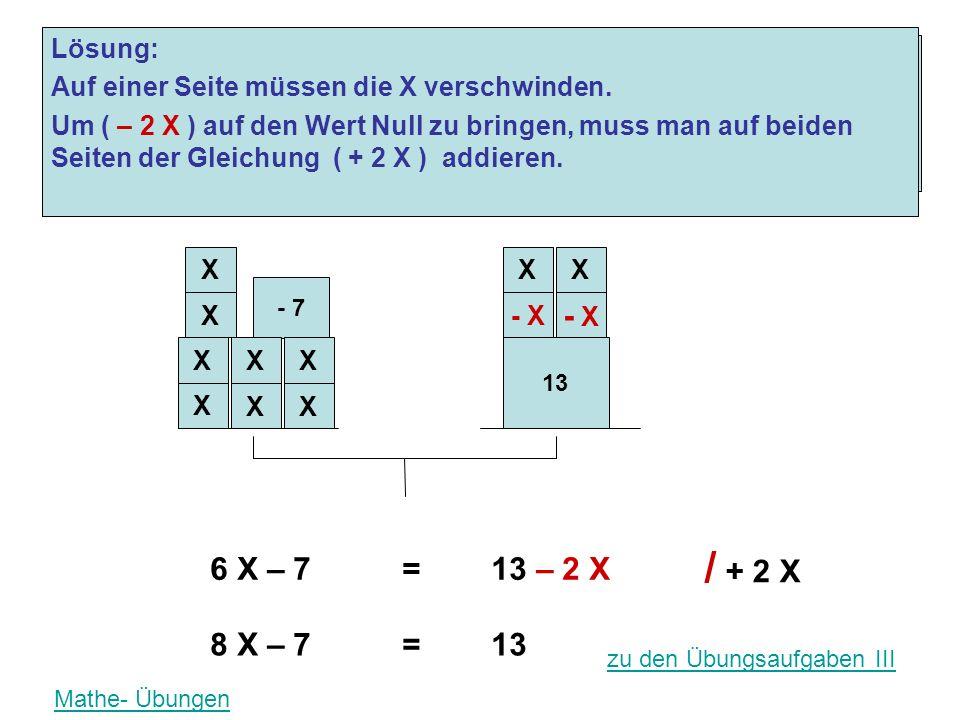 X X X X 13 - 7 XX - X Problem: Auf einer Seite der Gleichung steht der X - Wert im Minus 6 X – 7= 13 – 2 X Lösung: Auf einer Seite müssen die X versch