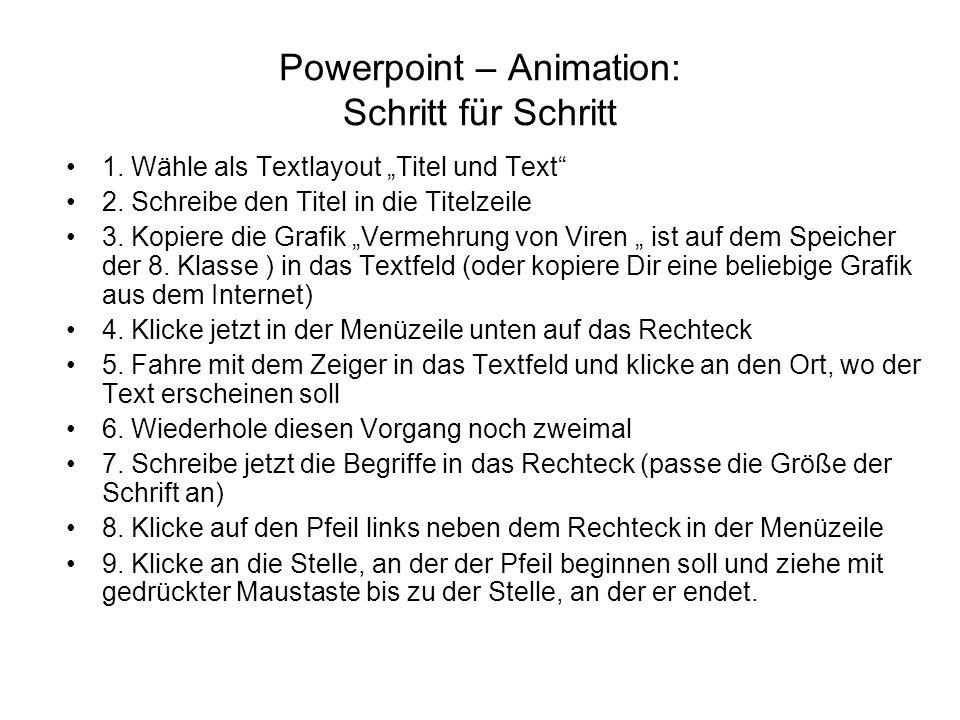 Powerpoint – Animation: Schritt für Schritt 1.Wähle als Textlayout Titel und Text 2.