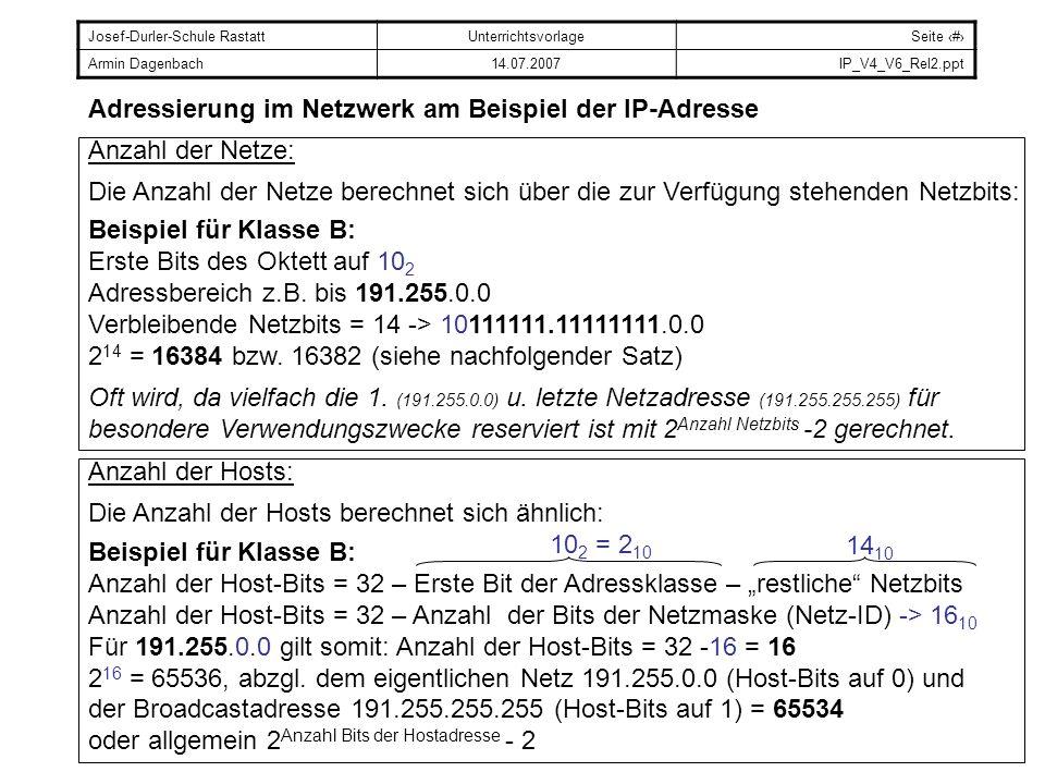 Josef-Durler-Schule RastattUnterrichtsvorlageSeite # Armin Dagenbach14.07.2007IP_V4_V6_Rel2.ppt Adressierung im Netzwerk am Beispiel der IP-Adresse An