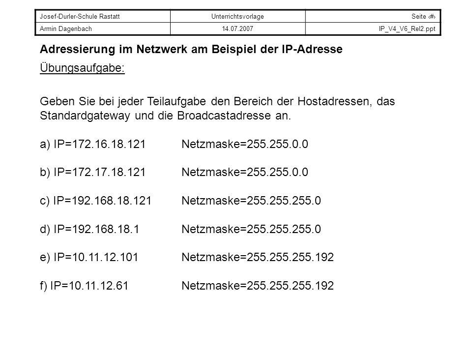 Josef-Durler-Schule RastattUnterrichtsvorlageSeite # Armin Dagenbach14.07.2007IP_V4_V6_Rel2.ppt Adressierung im Netzwerk am Beispiel der IP-Adresse Üb