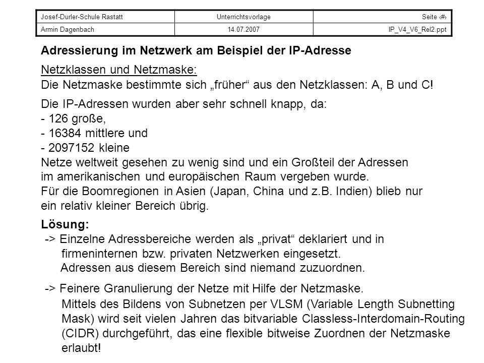 Josef-Durler-Schule RastattUnterrichtsvorlageSeite # Armin Dagenbach14.07.2007IP_V4_V6_Rel2.ppt Adressierung im Netzwerk am Beispiel der IP-Adresse Ne
