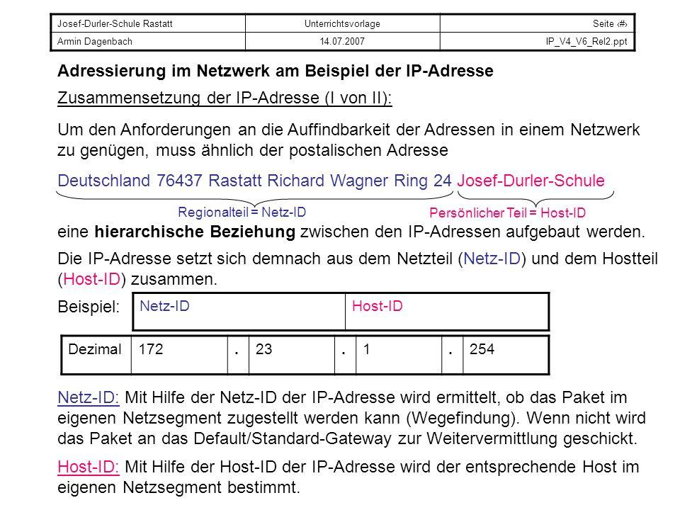 Josef-Durler-Schule RastattUnterrichtsvorlageSeite # Armin Dagenbach14.07.2007IP_V4_V6_Rel2.ppt Adressierung im Netzwerk am Beispiel der IP-Adresse Zusammensetzung der IP-Adresse (II von II): Der Rechner oder die Kopplungskomponente kann diese Unterteilung in Netz-ID und Host-ID nicht ohne weiteres durchführen.