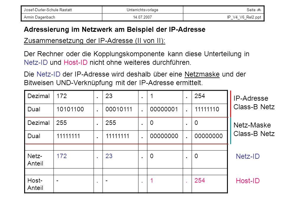 Josef-Durler-Schule RastattUnterrichtsvorlageSeite # Armin Dagenbach14.07.2007IP_V4_V6_Rel2.ppt Adressierung im Netzwerk am Beispiel der IP-Adresse Übungsaufgabe: Welche der folgenden Adressen liegen in demselben Netz.
