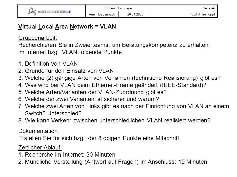 UnterrichtsvorlageSeite # Armin Dagenbach20.01.2008VLAN_Trunk.ppt Gruppenarbeit: Recherchieren Sie in Zweierteams, um Beratungskompetenz zu erhalten,