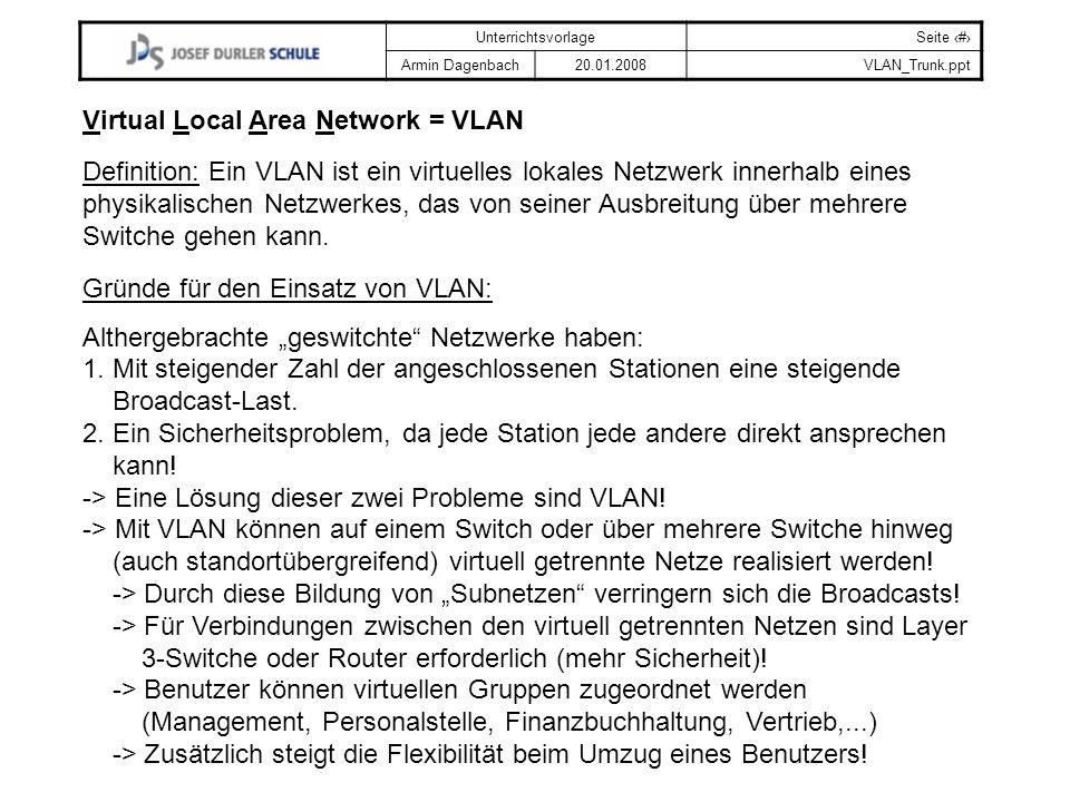 UnterrichtsvorlageSeite # Armin Dagenbach20.01.2008VLAN_Trunk.ppt Definition: Ein VLAN ist ein virtuelles lokales Netzwerk innerhalb eines physikalisc