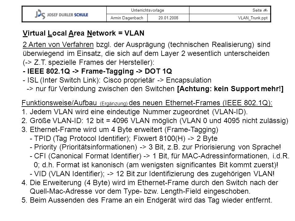 UnterrichtsvorlageSeite # Armin Dagenbach20.01.2008VLAN_Trunk.ppt Virtual Local Area Network = VLAN Funktionsweise/Aufbau (Ergänzung) des neuen Ethern