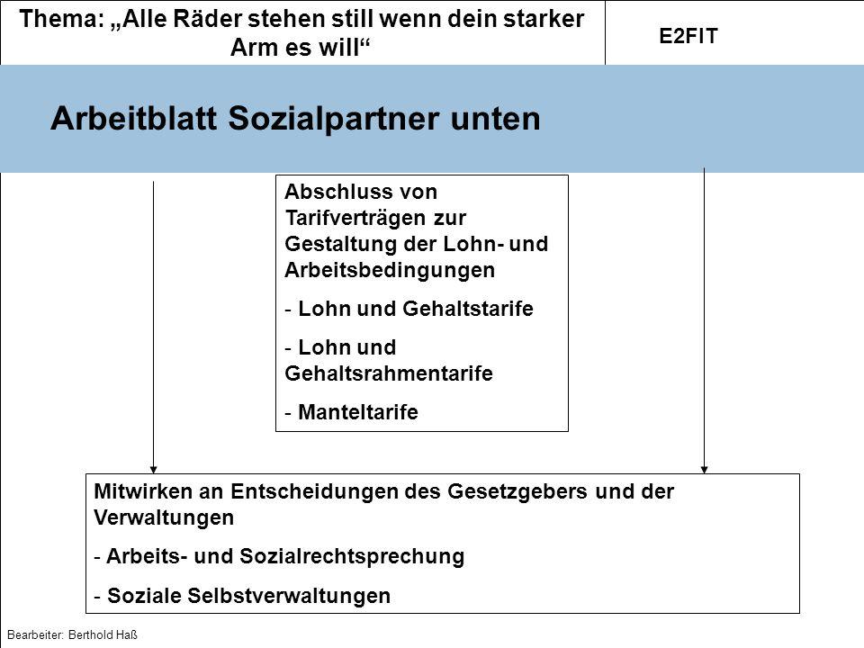 Thema: Alle Räder stehen still wenn dein starker Arm es will E2FIT Bearbeiter: Berthold Haß Spielregeln für den Streik 1.