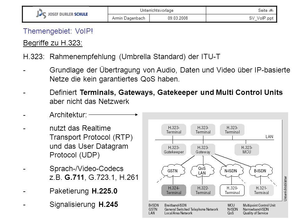 UnterrichtsvorlageSeite # Armin Dagenbach09.03.2008SV_VoIP.ppt Themengebiet: VoIP! Begriffe zu H.323: H.323:Rahmenempfehlung (Umbrella Standard) der I