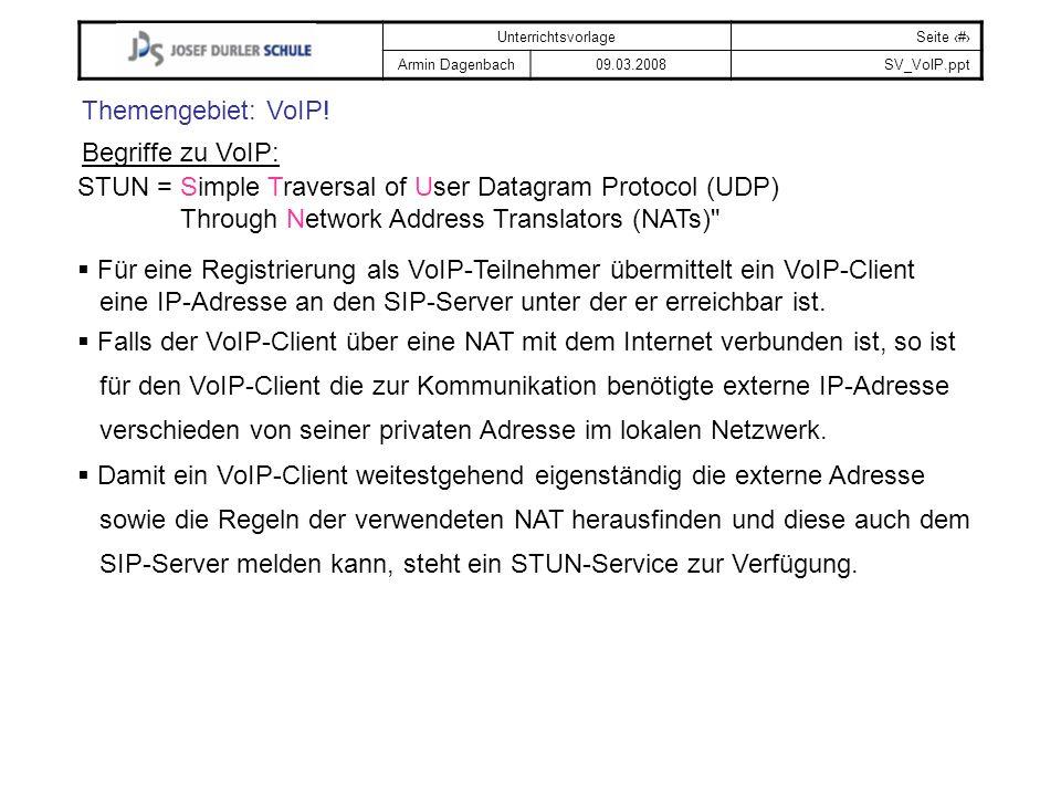 UnterrichtsvorlageSeite # Armin Dagenbach09.03.2008SV_VoIP.ppt Themengebiet: VoIP! Begriffe zu VoIP: STUN = Simple Traversal of User Datagram Protocol