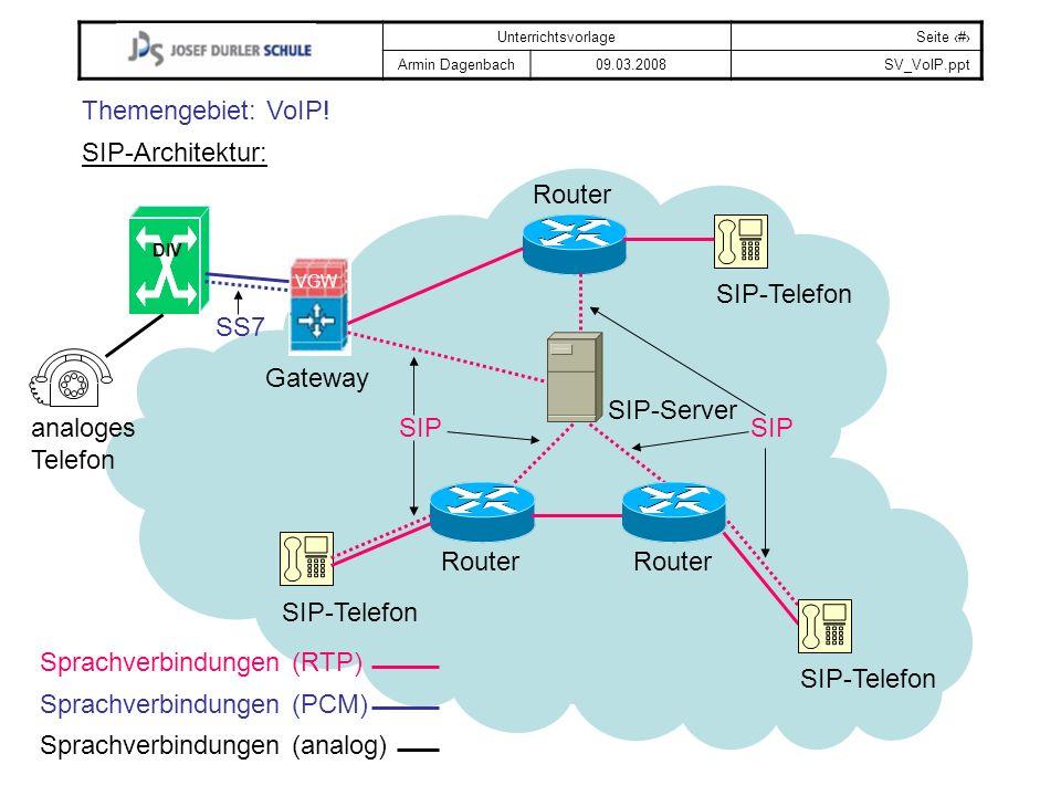 UnterrichtsvorlageSeite # Armin Dagenbach09.03.2008SV_VoIP.ppt Themengebiet: VoIP! SIP-Architektur: VGW DIV SIP-Telefon analoges Telefon Gateway SIP-S