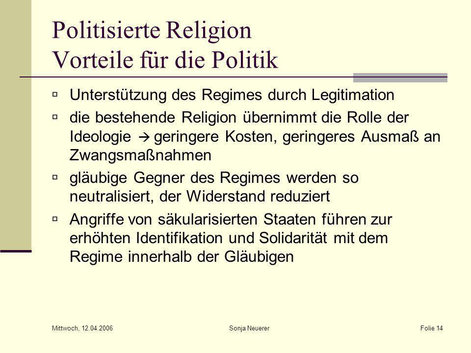 Mittwoch, 12.04.2006 Sonja NeuererFolie 14 Politisierte Religion Vorteile für die Politik Unterstützung des Regimes durch Legitimation die bestehende
