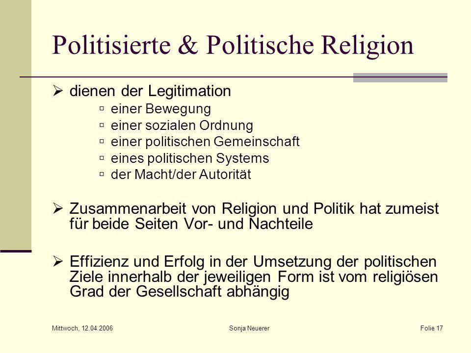 Mittwoch, 12.04.2006 Sonja NeuererFolie 17 Politisierte & Politische Religion dienen der Legitimation einer Bewegung einer sozialen Ordnung einer poli