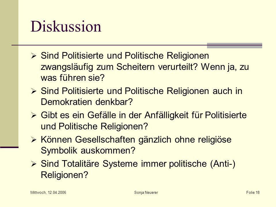 Mittwoch, 12.04.2006 Sonja NeuererFolie 18 Diskussion Sind Politisierte und Politische Religionen zwangsläufig zum Scheitern verurteilt? Wenn ja, zu w
