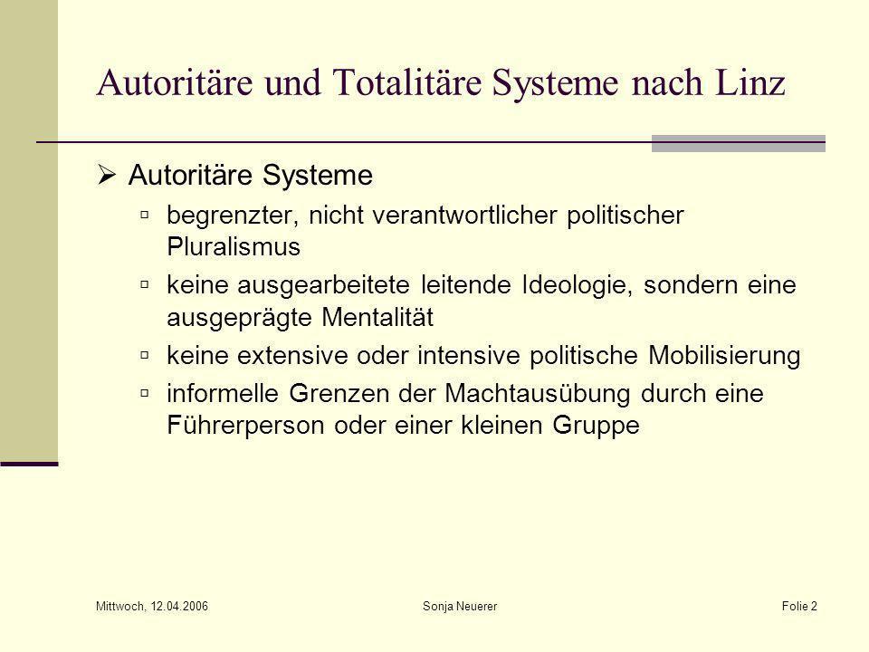 Mittwoch, 12.04.2006 Sonja NeuererFolie 2 Autoritäre und Totalitäre Systeme nach Linz Autoritäre Systeme begrenzter, nicht verantwortlicher politische