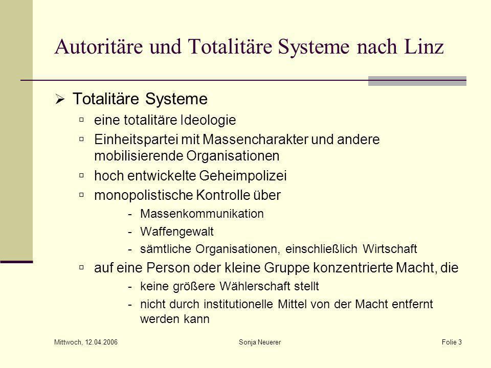 Mittwoch, 12.04.2006 Sonja NeuererFolie 3 Autoritäre und Totalitäre Systeme nach Linz Totalitäre Systeme eine totalitäre Ideologie Einheitspartei mit