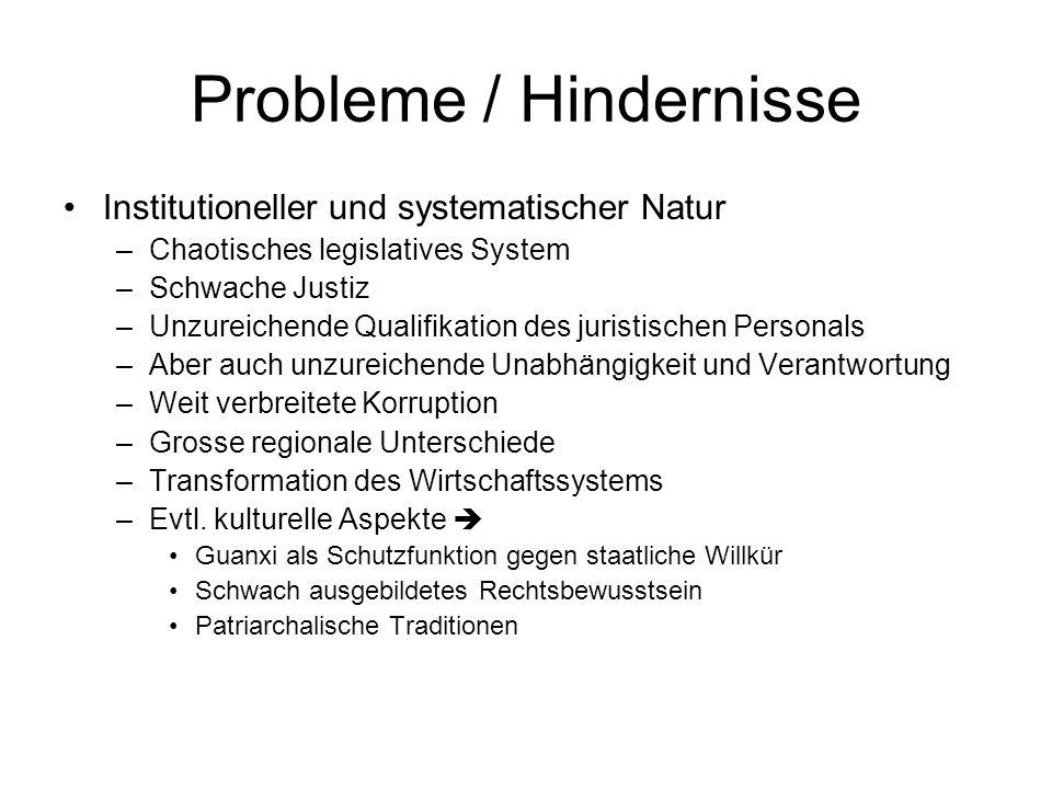 Probleme / Hindernisse Institutioneller und systematischer Natur –Chaotisches legislatives System –Schwache Justiz –Unzureichende Qualifikation des ju