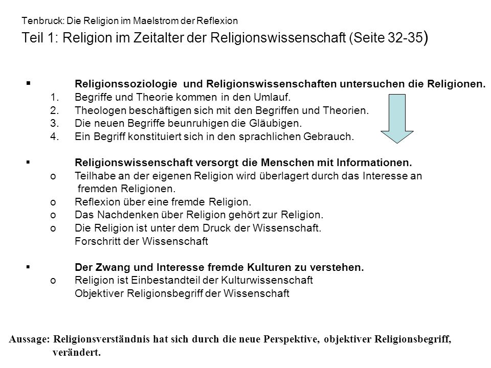 Tenbruck: Die Religion im Maelstrom der Reflexion Teil 1: Religion im Zeitalter der Religionswissenschaft (Seite 32-35 ) Religionssoziologie und Relig