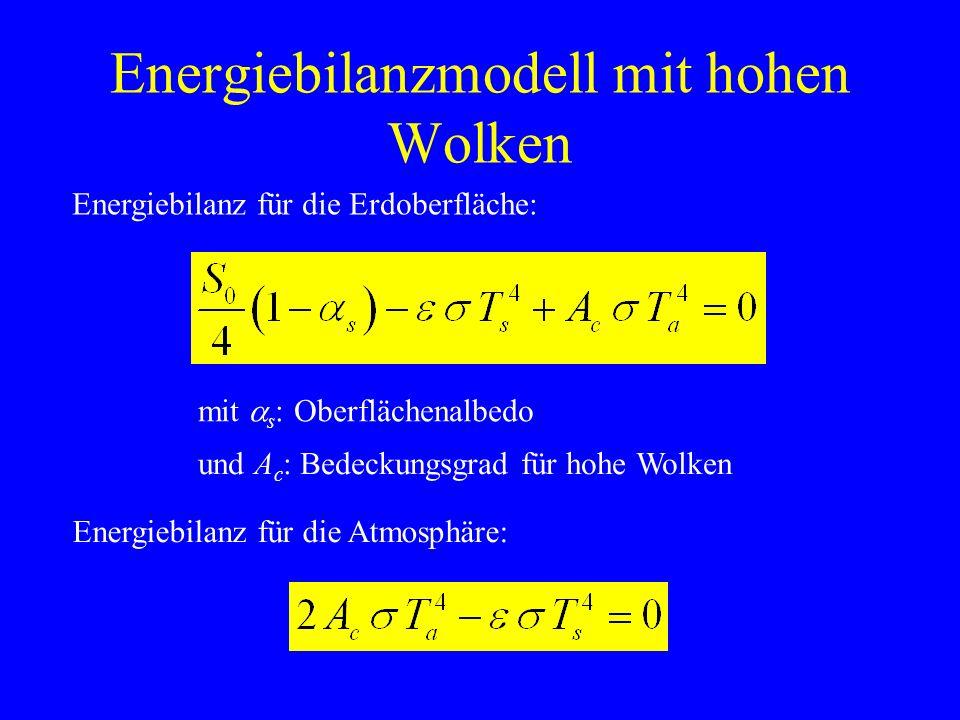 Energiebilanzmodell mit hohen Wolken Energiebilanz für die Erdoberfläche: Energiebilanz für die Atmosphäre: und A c : Bedeckungsgrad für hohe Wolken mit s : Oberflächenalbedo