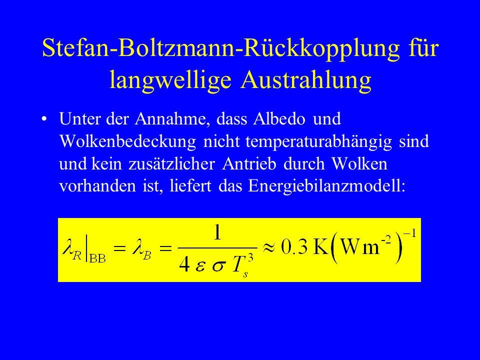 Stefan-Boltzmann-Rückkopplung für langwellige Austrahlung Unter der Annahme, dass Albedo und Wolkenbedeckung nicht temperaturabhängig sind und kein zusätzlicher Antrieb durch Wolken vorhanden ist, liefert das Energiebilanzmodell: