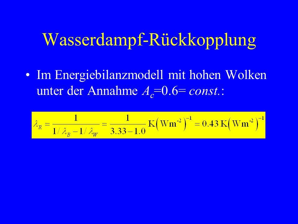 Wasserdampf-Rückkopplung Im Energiebilanzmodell mit hohen Wolken unter der Annahme A c =0.6= const.: