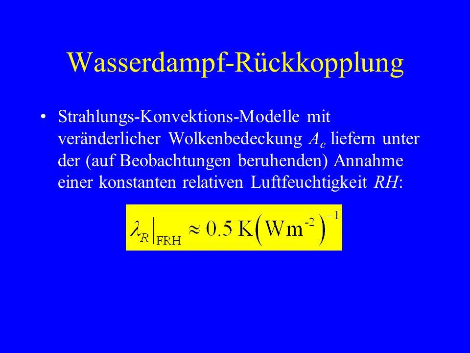 Wasserdampf-Rückkopplung Strahlungs-Konvektions-Modelle mit veränderlicher Wolkenbedeckung A c liefern unter der (auf Beobachtungen beruhenden) Annahme einer konstanten relativen Luftfeuchtigkeit RH: